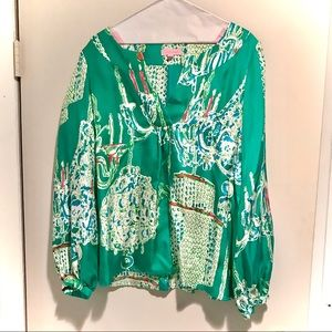 Lilly Pulitzer Holy Grail Swingers Silk Top Medium